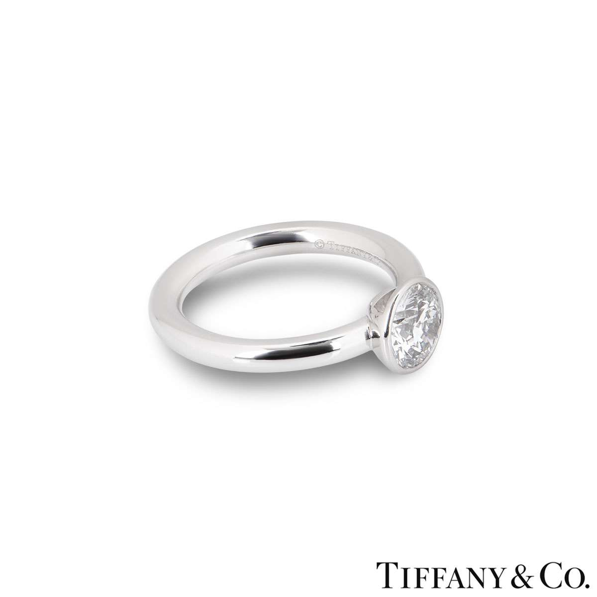 Tiffany & Co. Round Brilliant Cut Diamond Ring 1.05ct F/VVS2
